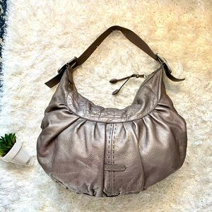 Cole Haan Large Pewter Hobo  Cinched Leather Bag